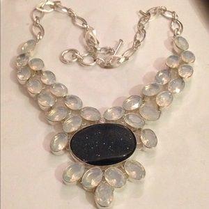 Fabulous Druze &milky opalite necklace